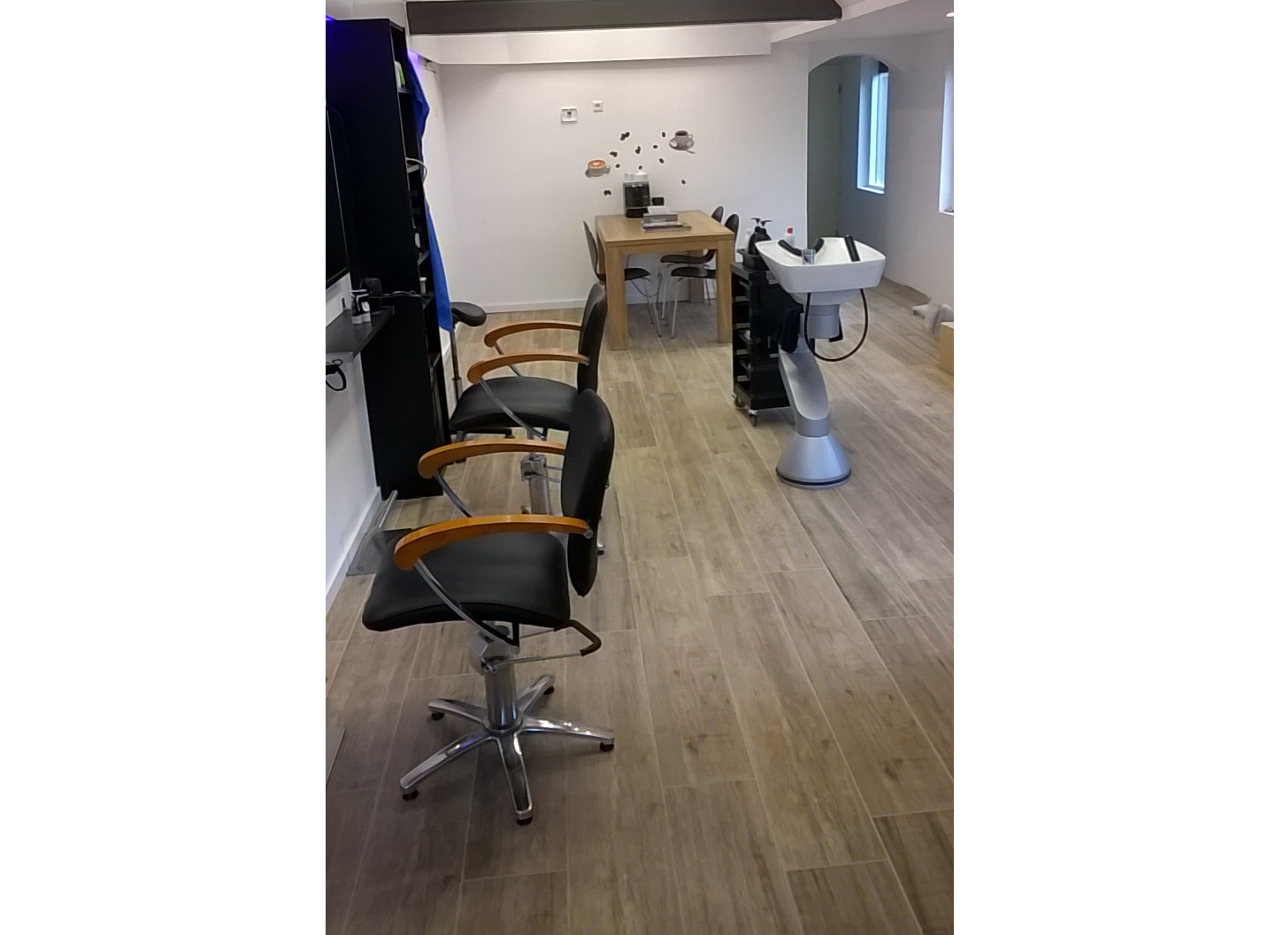 Binnen in de salon